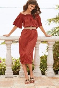Off Shoulder Linen Blend Midi Dress