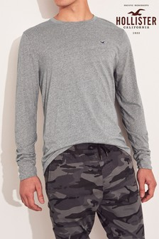 Hollister Grey Long Sleeve Basic T-Shirt