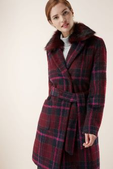Blurred Check Coat