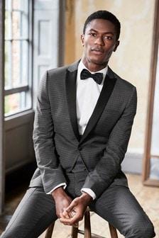 Skinny Fit Diamond Jacquard Suit: Jacket