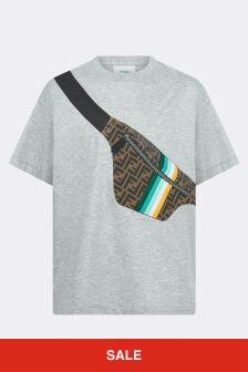 Fendi Kids Boys Grey Cotton Belt Bag T-Shirt