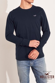 Hollister Navy Long Sleeve Basic T-Shirt