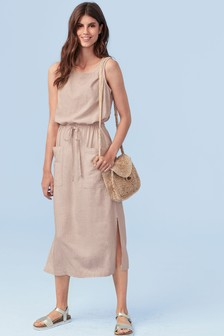 Linen Blend Midi Pocket Dress