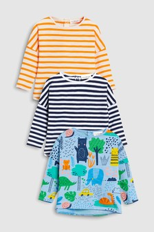 Print And Stripes T-Shirts Three Pack (0mths-2yrs)