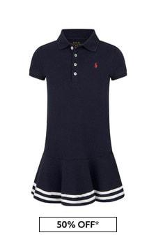 Ralph Lauren Kids Girls Navy Cotton Dress