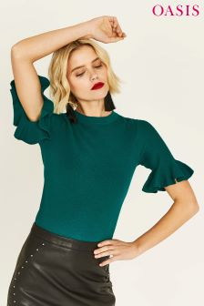 Oasis Flare Green Cuff Knit Sweat Top
