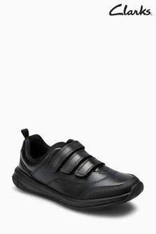 Clarks Youth Black Leather Hula Thrill Triple Velcro Shoe