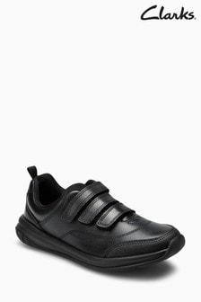 Молодежные черные кожаные туфли с 3 ремешками на липучках Clarks Hula Thrill