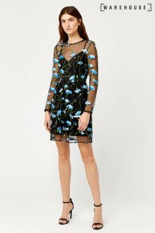 Warehouse Blue/Black Bloom Embroidered Skater Dress