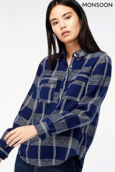 Monsoon Blue Moira Check Linen Shirt