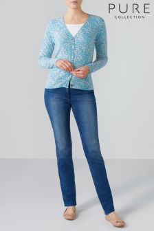 Pure Collection Blue Cashmere V-Neck Cardigan