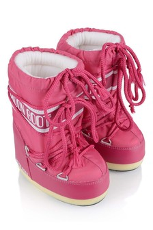 Girls Cerise Nylon Snow Boots