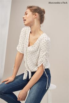 Abercrombie & Fitch White Polka Dot Blouse