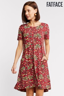 FatFace Red Simone Alhambra Palms Dress