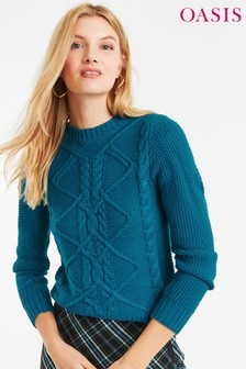 Oasis Green Nyla Cable Jumper