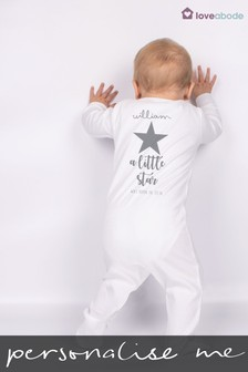 Personalised Grey Star Sleepsuit by Loveabode