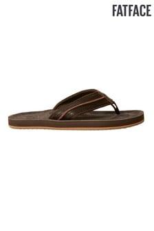 FatFace Brown Burcott Suede Flip Flops