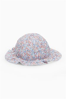 Ditsy Floral And Stripe Reversible Hat (0mths-2yrs)