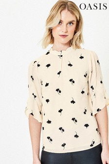 Oasis Natural Leaf Print Scallop Top