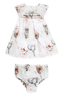 Printed Prom Dress And Knickers Set (0mths-2yrs)