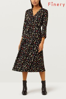 Finery London Daniella V Dark Ditsy Printed Dress