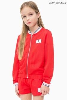 מעיל מנופח עם Monogram ורשת לבנות של Calvin Klein Jeans