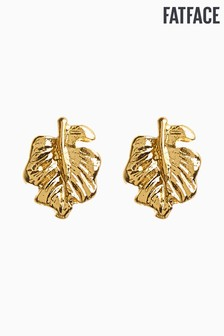 FatFace Gold Palm Leaf Stud Earrings