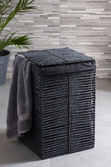 Black Woven Laundry Hamper