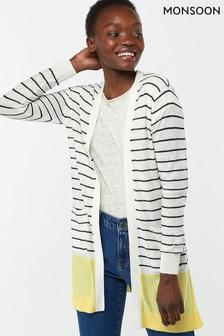 Monsoon Ladies Yellow Sinead Stripe Linen Blend Cardigan