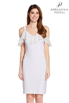 Adrianna Papell White Chiffon And Jersey Sheath Dress