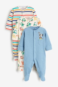 3 Pack Watercolour Dog Sleepsuits (0mths-2yrs)