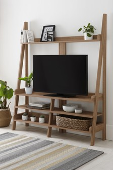 Oak TV Ladder Shelf