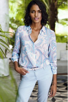 Pure Collection Blue Relaxed Washed Silk Blouse
