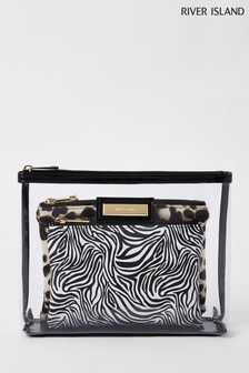 River Island Black Perspex Make-Up Bag