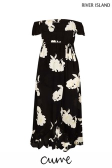 River Island Plus Size Multi Printed Bardot Maxi Dress