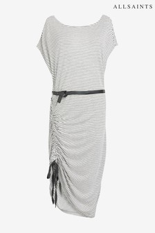 AllSaints White Stripe Belted Ruched Dress
