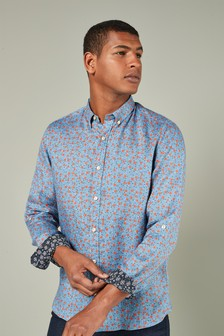 Long Sleeve Pure Linen Floral Shirt