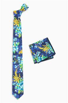 Галстук с цветочным рисунком и платок для пиджака