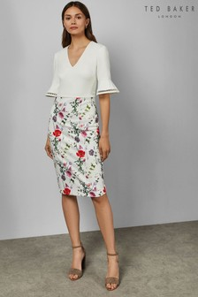 Ted Baker Ivory Floral Bodycon Dress