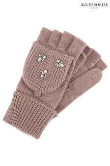 Accessorize Pink Embellished Capped Gloves