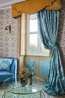 The Chateau by Angel Strawbridge Deco Heron Pencil Pleat Curtains