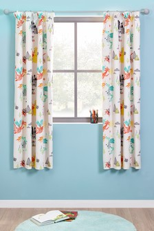 Knights And Dragons Blackout Pencil Pleat Curtains