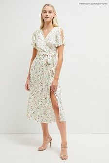 French Connection White Roseau Meadow Jersey Midi Dress