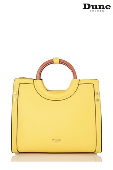 Dune Accessories Yellow Medium Wooden Handle Tote Bag