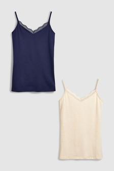 Lace Trim Vests Two Pack