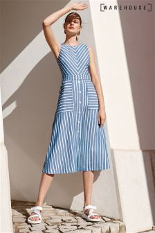 Warehouse Blue Stripe Chevron Midi Dress