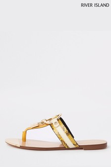 River Island Yellow Toe Thong Sandal