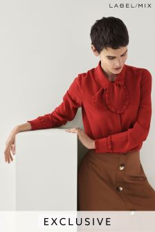 Mix/Isa Arfen Ruffle Silk Shirt