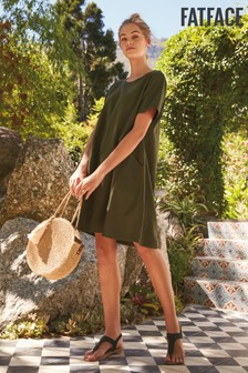 FatFace Green Simone Linen Blend Dress