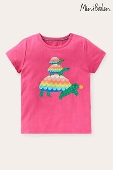Boden Pink Charming Appliqué T-Shirt